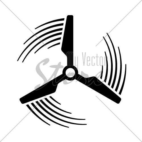 wind power plant propeller motion line symbol vector