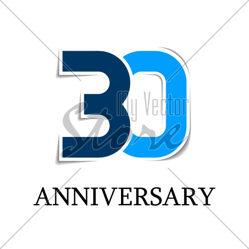 30 anniversary sticker number icon vector