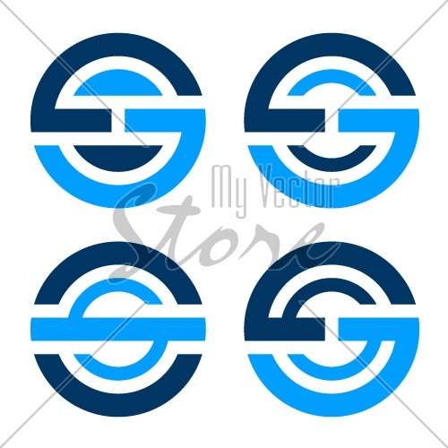 letter O S G simple blue icon vector
