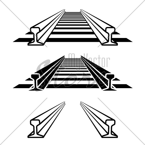steel train rail track profile symbol vector