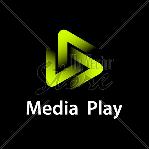 media play green glowing symbol vector