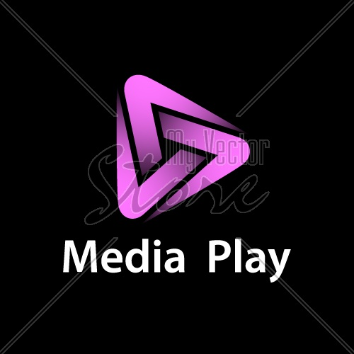 media play purple glowing symbol vector