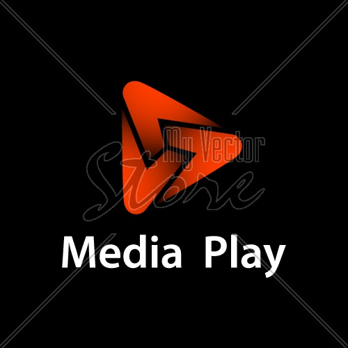 media play red glowing symbol vector