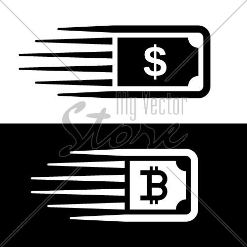 fast money bitcoin motion line banknote vector