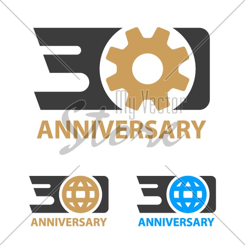 30 years anniversary industry gear globe number