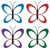 vector four colored butterflies