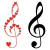 vector hearts violin clef