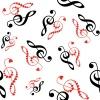 vector hearts violin clef seamless