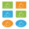 vector labels with cup