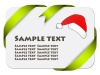 Vector festive card with ribbon and christmas hat