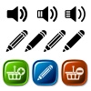 vector speaker pencil basket icons