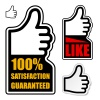 vector thumb up satisfaction guaranteed label