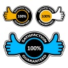 vector thumb up satisfaction guaranteed labels