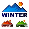vector striped winter summer spring mountains
