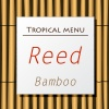 Vector white banner hang on bamboo