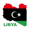 vector Libyan Republic flag on map