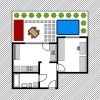 vector house floor plan with small garden