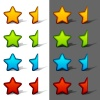 vector whole and half rating stars with shadow