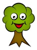 vector cartoon smiling face tree