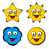 vector cartoon smiling face star sun cloud smiley