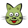 vector cartoon smiling face cat
