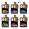 vector hand thumb up labels