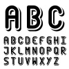 vector original 3d black and white font alphabet