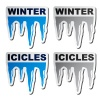 vector winter blue icicle stickers