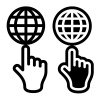 vector hand and globe black symbol