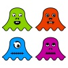 vector cute ghost monsters