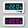vector glowing digital thermometer icons