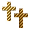 vector golden striped christian cross