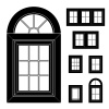 vector plastic window black icons