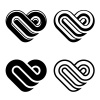 vector abstract heart black white symbols