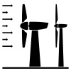 vector wind power plant black pictograms