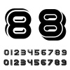 vector 3D black simple numbers font