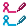 vector blue pink ribbon - prostate breast cancer symbol