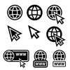 vector world wide web globe cursor icons