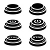 vector start stop knob button black symbols