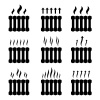vector central heating radiator warming black symbols