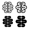 human brain black symbol vector