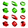 mineral crystal stone red green vector