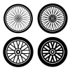bike motorbike wheels black silhouette vector