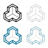 3D isometric empty room corner symbol vector