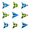 abstract triangular arrow symbol vector