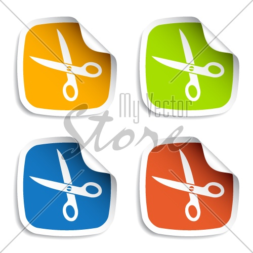 vector scissors stickers
