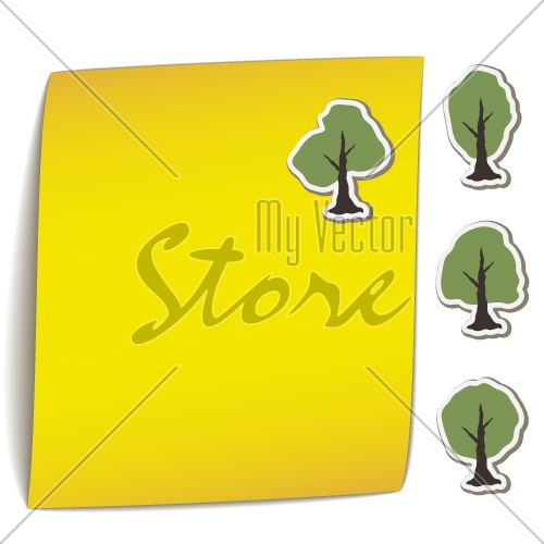 vector yellow bend paper with tree magnet