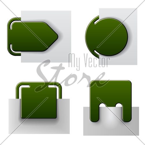 vector green attached labels