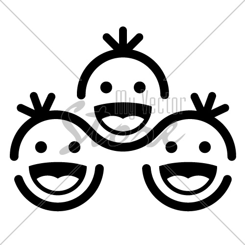 vector together smiling children team symbol