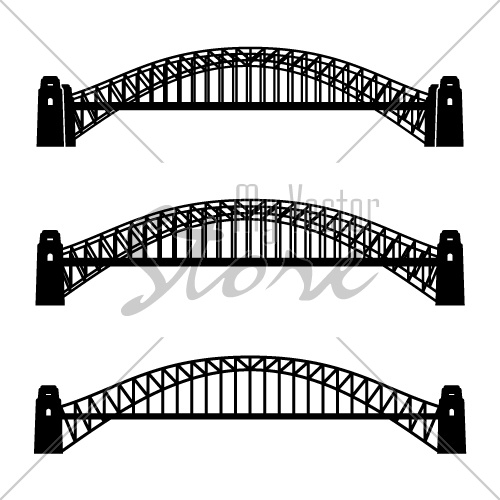 vector metal Sydney Harbour bridge black symbol